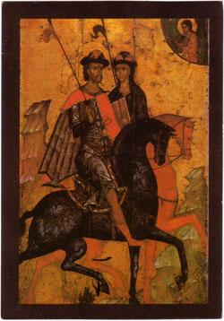 Eastern Orthodox icon: Two Warriors
